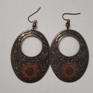 Large Bronze Statement Earrings.